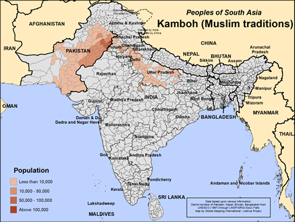 Map of Kamboh (Muslim traditions) in India