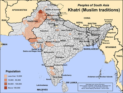 Map of Khatri (Muslim traditions) in India