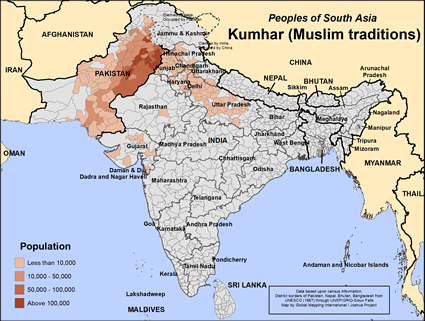 Map of Kumhar (Muslim traditions) in India