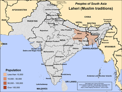Map of Laheri (Muslim traditions) in Bangladesh