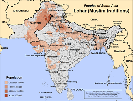 Map of Lohar (Muslim traditions) in Nepal