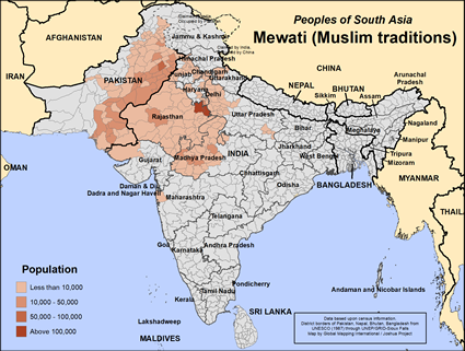 Map of Mewati (Muslim traditions) in India