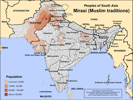 Map of Mirasi (Muslim traditions) in India