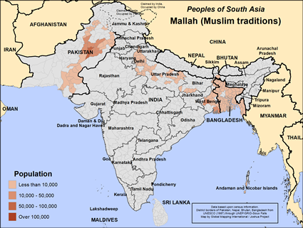 Map of Mallah (Muslim traditions) in Bangladesh