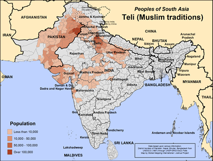 Map of Teli (Muslim traditions) in India