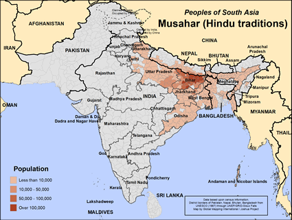 Map of Musahar (Hindu traditions) in India
