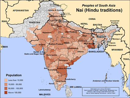 Map of Nai (Hindu traditions) in Pakistan