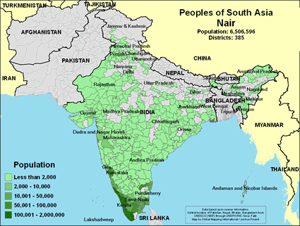 Map of Nair in India