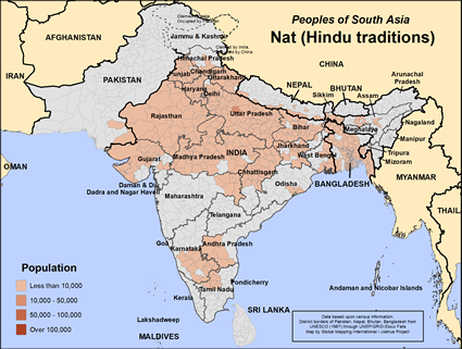 Map of Nat (Hindu traditions) in India