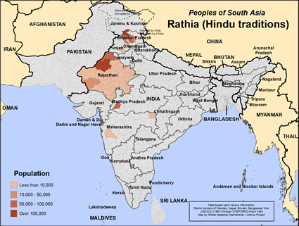 Map of Rathia (Hindu traditions) in India