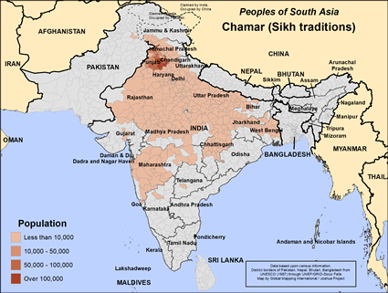 Map of Chamar (Sikh traditions) in Pakistan