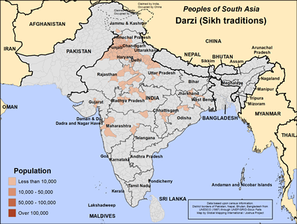 Map of Darzi (Sikh traditions) in India