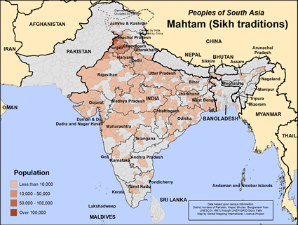 Map of Mahtam (Sikh traditions) in India