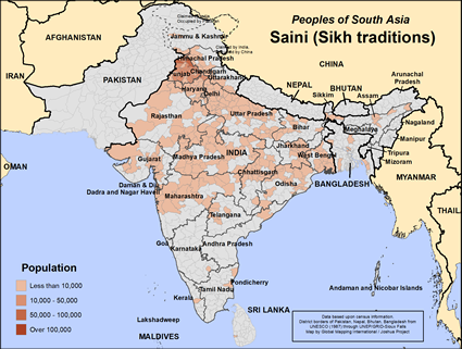 Map of Saini (Sikh traditions) in India