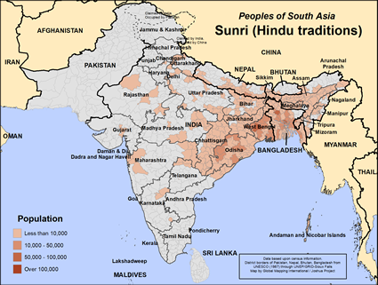 Map of Sunri (Hindu traditions) in India