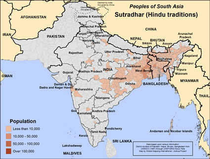 Map of Sutradhar (Hindu traditions) in Bangladesh