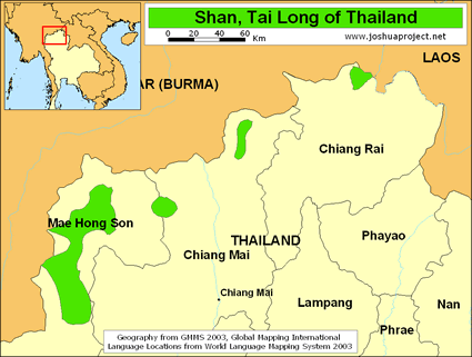 Map of Tai Man, Shan in Thailand