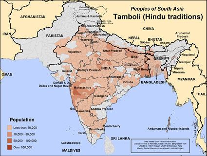 Map of Tamboli (Hindu traditions) in Bangladesh