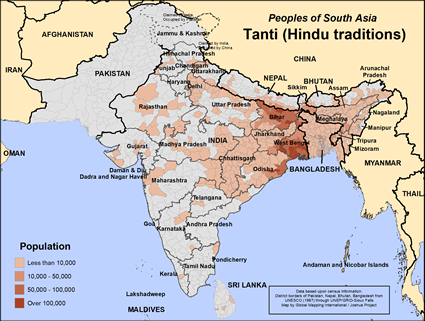 Map of Tanti (Hindu traditions) in Bangladesh