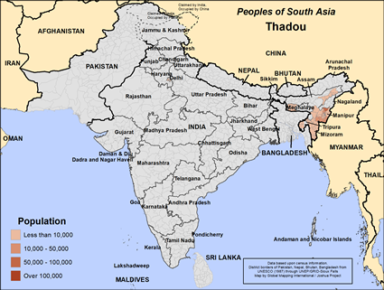 Map of Thadou in India