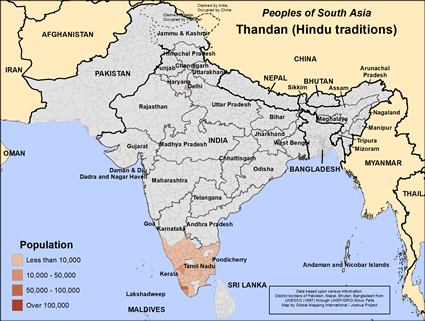 Map of Thandan (Hindu traditions) in India