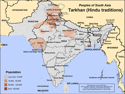 Map of Tarkhan (Hindu traditions) in India