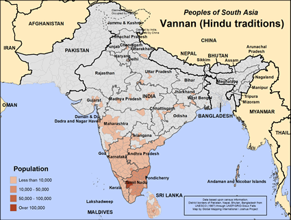 Map of Vannan (Hindu traditions) in India