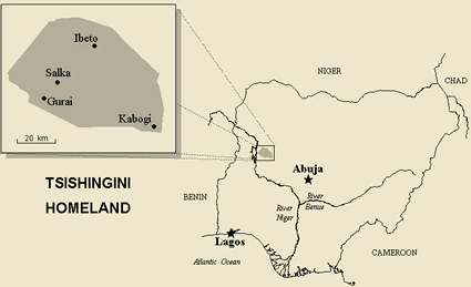 Map of Kambari in Nigeria