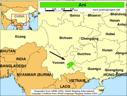 Map of Ani in China