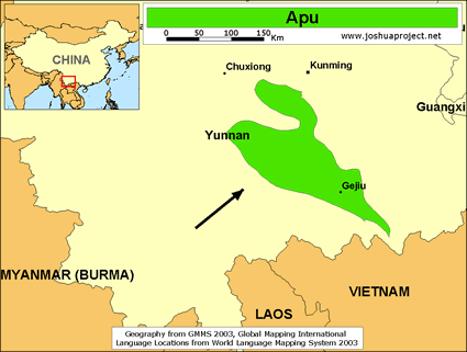 Map of Apu in China