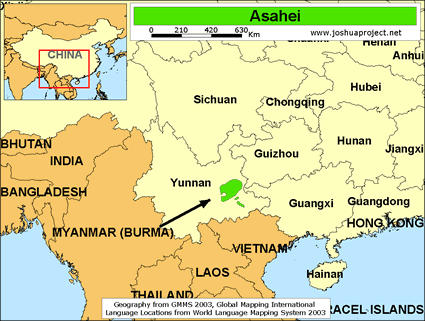 Map of Asahei in China