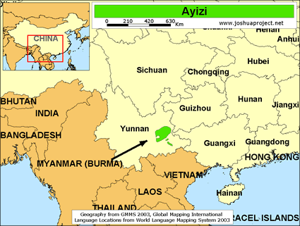 Map of Ayizi in China