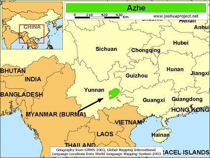 Map of Azhe in China