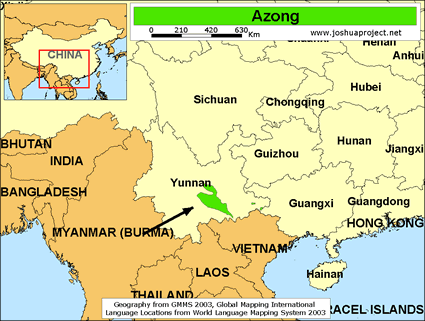 Map of Azong in China