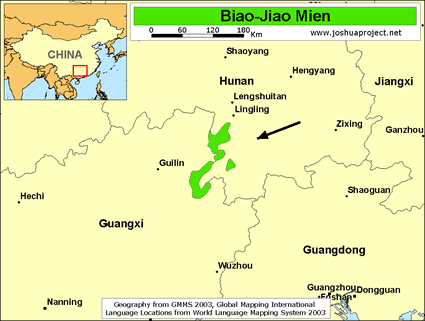 Map of Biao-Jiao Mien in China