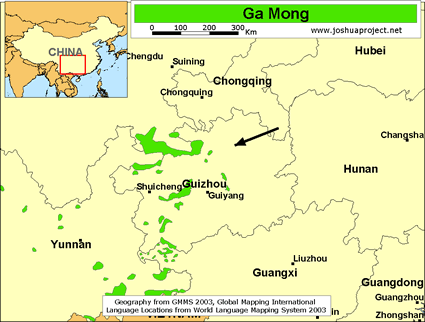 Map of Ga Mong in China