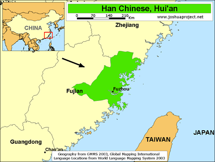 Map of Han Chinese, Hui'an in China