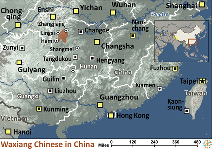 Map of Han Chinese, Waxiang in China