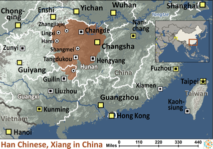 Map of Han Chinese, Xiang in China