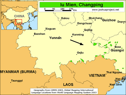 Map of Iu Mien, Changping in China