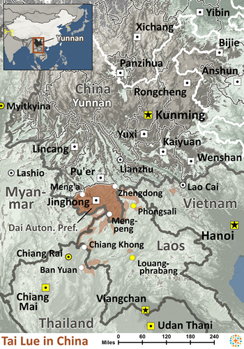 Map of Tai Lue in China