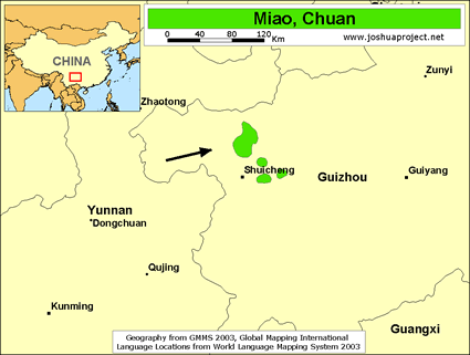 Map of Miao, Chuan in China