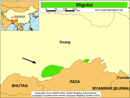 Map of Miguba in China