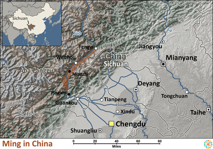 Map of Ming in China