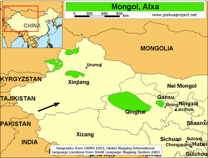 Map of Mongol, Alxa in China