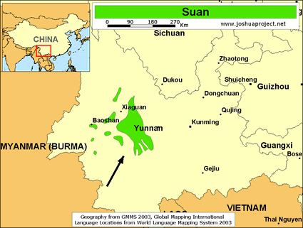Map of Suan in China