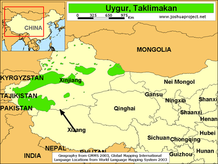 Map of Uygur, Taklimakan in China