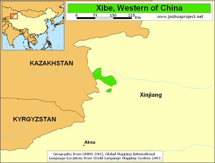 Map of Xibe, Western in China