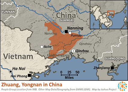 Map of Zhuang, Yongnan in China