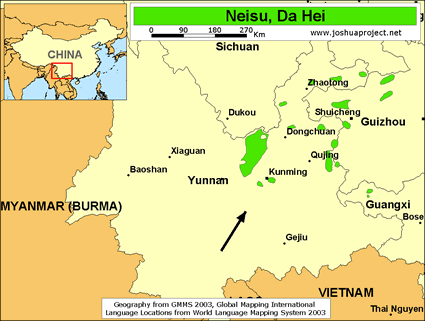 Map of Neisu, Da Hei in China